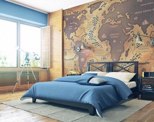 森林系卧室背景墙效果图