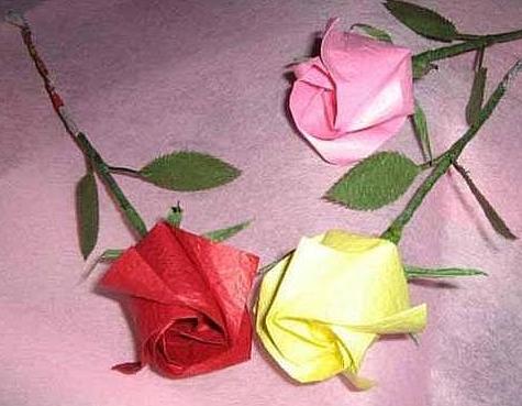 家居diy:情人节玫瑰花手工折纸方法