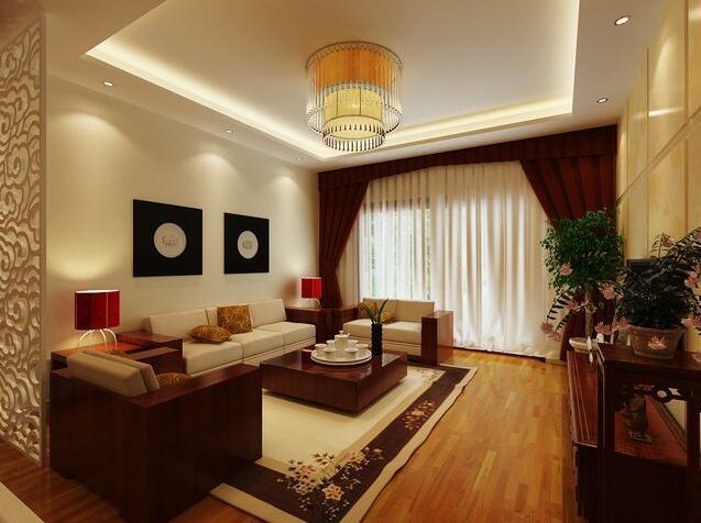 东南亚,日式,中式客厅窗帘效果图图片