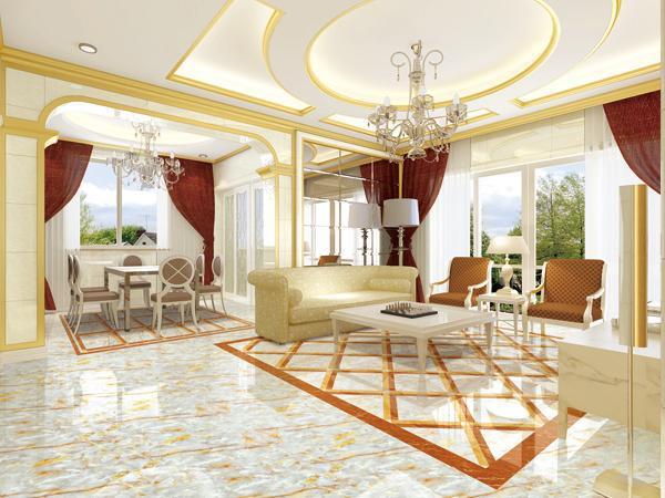 别墅客厅微晶石瓷砖效果图