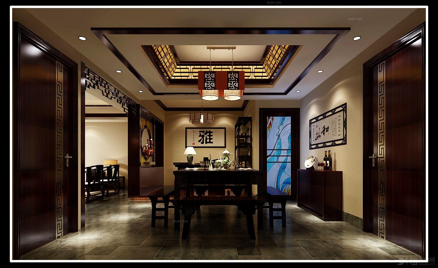 装修学堂 中式风格 中式风格餐厅设计效果图欣赏           传统的图片