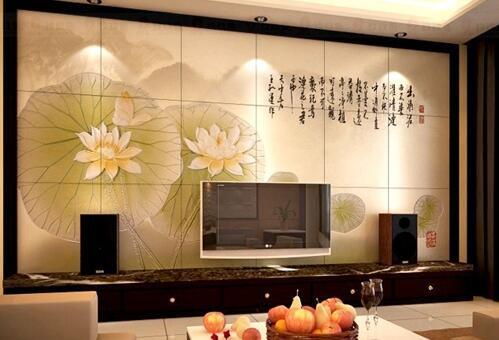 瓷砖电视背景墙装修案例 电视墙瓷砖效果图