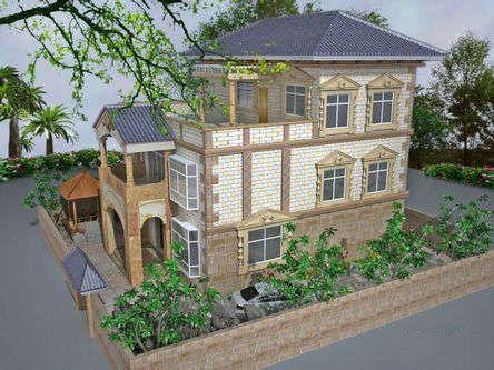欧式仿古砖外墙农村别墅小洋房外部装修设计效果