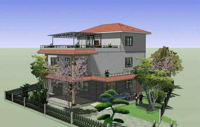现代新农村自建三层小别墅洋房装修效果图