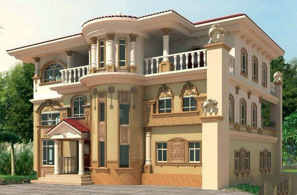 欧式奢华风格农村三层小洋房装修设计效果图图片