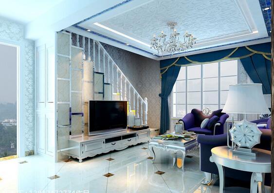 客厅背景楼梯装修 客厅楼梯电视背景墙设计效果图