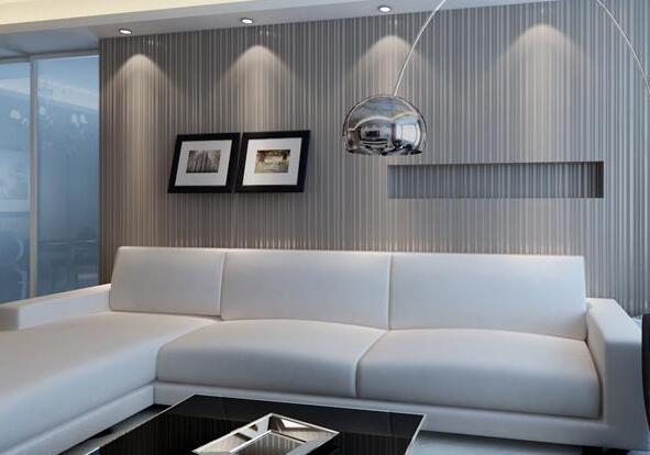 色彩淡雅舒适,与纯白色的转角沙发组合自然明亮,墙面上的储物柜设计