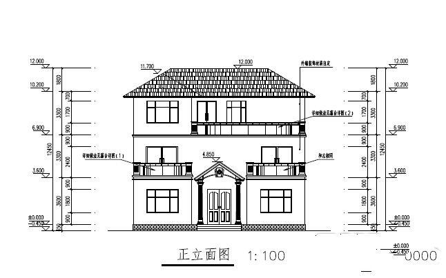 中式别墅厕所立面图