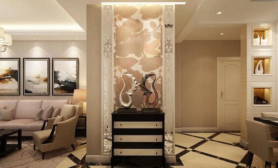 餐厅客厅一体走廊过道瓷砖菱形铺装设计效果图
