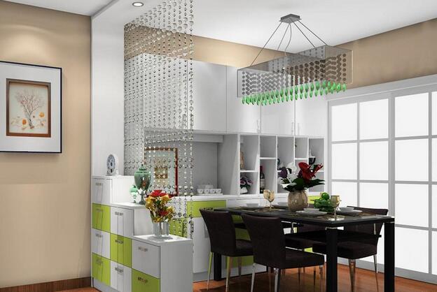 8款客厅珠帘隔断效果图       利用珠帘跟柜子,充当玄关与客厅之间的
