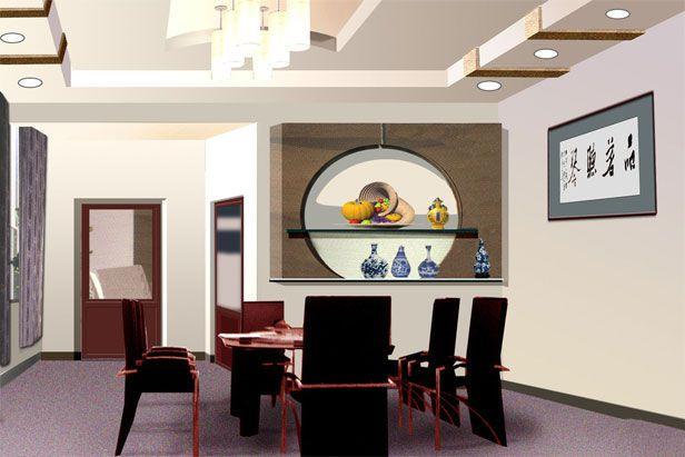 橙黄色的餐厅吊顶设计和墙面设计成为这间小户型餐厅的焦点和图片