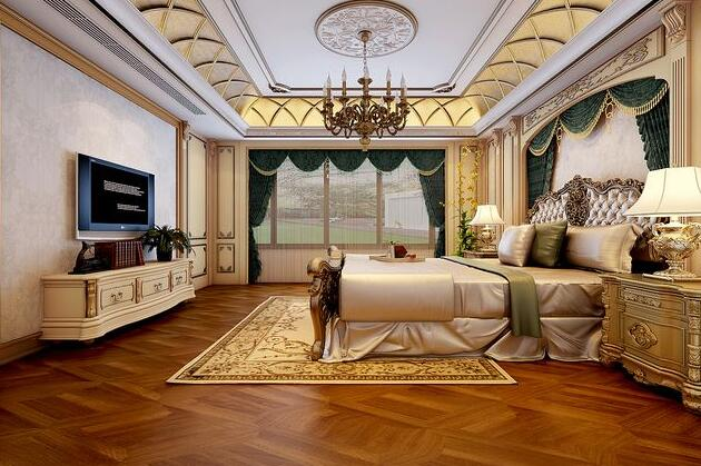 中式和欧式混搭风格的宫廷卧室装修设计效果图