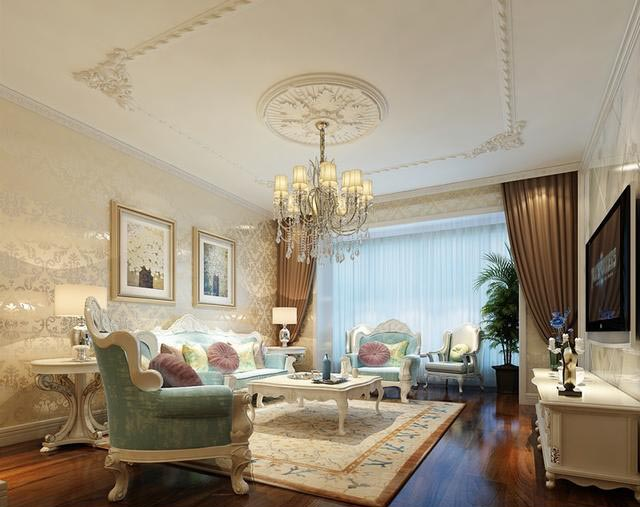 除了入户餐厅的必要吊顶,客厅区以石膏线勾勒欧式元素呼应米小姐图片