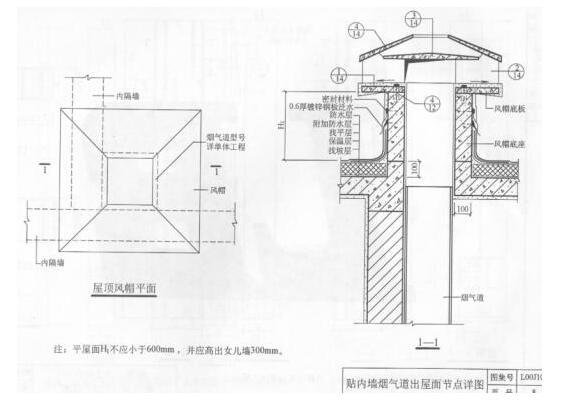 厨房烟道出屋面施工方法 厨房烟道出屋面图集