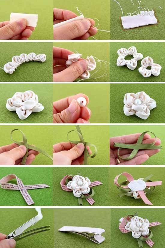 手工diy:布艺花朵发夹制作教程 diy发夹