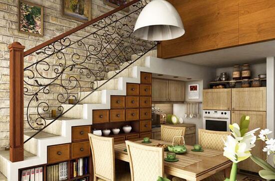 楼梯做厨房装修设计 楼梯做厨房装修效果图