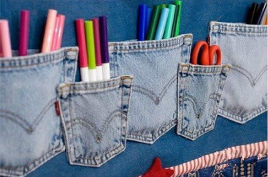 牛仔裤袋子改造收纳袋