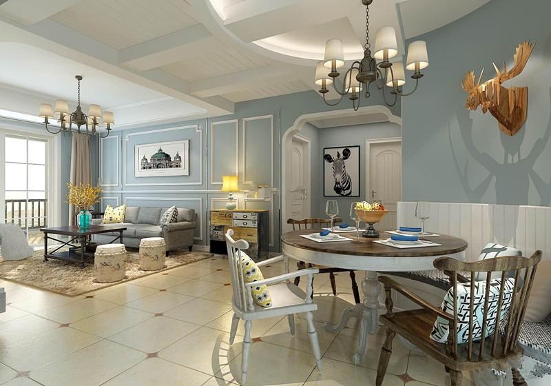 美式乡村风格客厅背景墙装修效果图案例,色调清新客厅背景墙装修效果