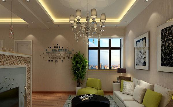 欧式客厅暖色调灯光效果图