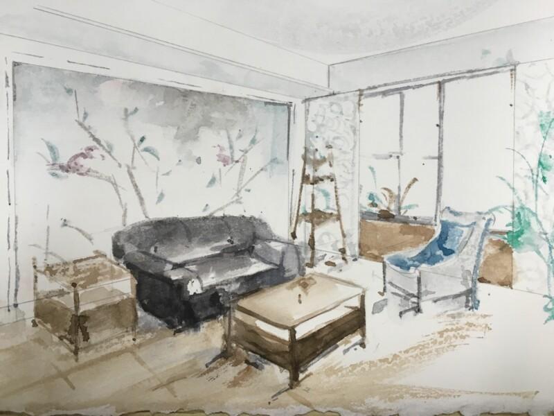 施工之前画的客厅手绘图
