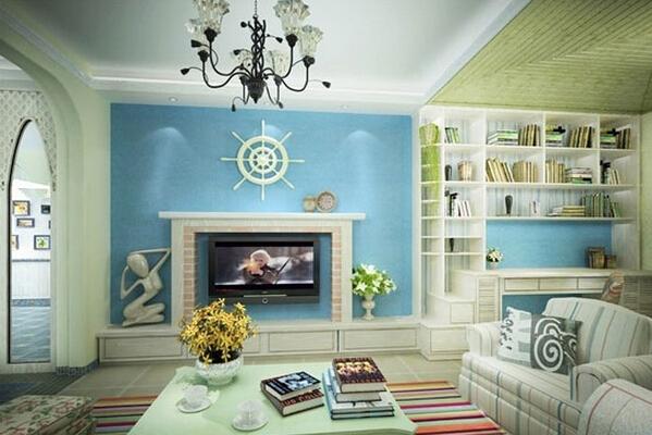 唯美又浪漫的地中海电视背景墙
