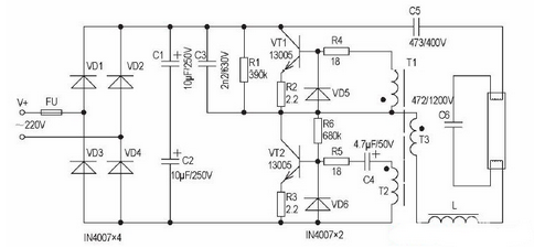 接通电源后,经整流滤波后的310v直流电压通过c3,r1并联再与r5串联,给v