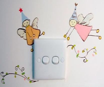 家居diy:手绘创意开关背景墙