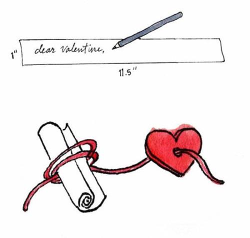 准备材料:纸条,尖嘴钳,剪刀,红色的线,红色的心形,缝衣针,带软