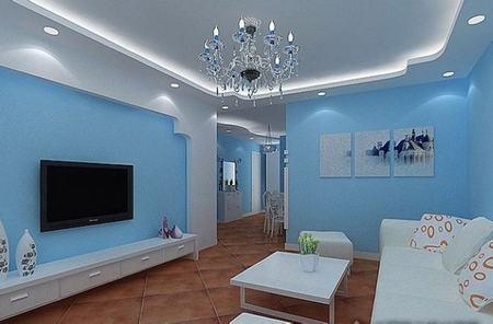 蓝色客厅装修效果图