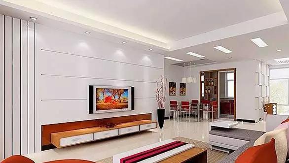 从客厅的背景墙,入口的柜体,过道的墙面,电视柜,餐厅的电视背景墙等都