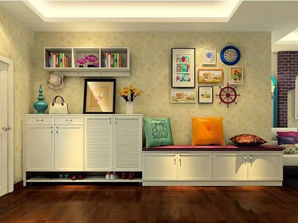 用基础柜的组合设计充当沙发,大大增加了收纳功能,增加了空间