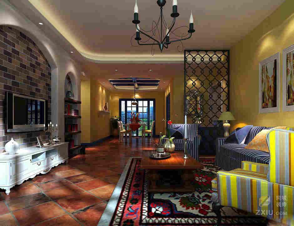 客厅单边吊顶吊顶造型效果图 欧式地中海风格的客厅设计很宽敞,浪漫典雅的元素在这里演绎了出来。顶棚石膏客厅单边吊顶很有艺术美感,流畅的线条勾勒,提升了美感,再加上水晶吊灯悬挂,柔和的光芒在整个空间里弥漫,充盈利落。宽敞的落地窗很明朗,蓝色的遮阳窗帘搭配,纯净利落,阳光投射进来,感受大自然的洗礼。