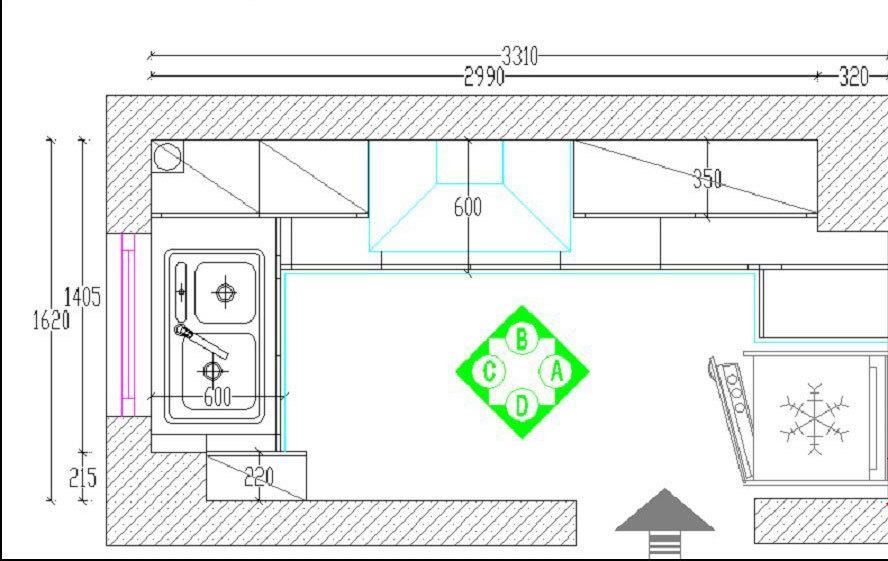 小户型厨房平面装修设计 小户型厨房平面图