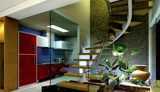 小户型跃层楼梯设计图:小户型跃层楼梯装修镂空砖楼梯
