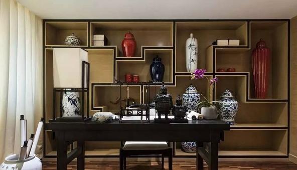 新中式风格书房装修案例 这些元素最为经典图片