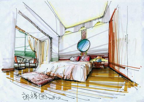 卧室马克笔手绘设计图 卧室马克笔效果图