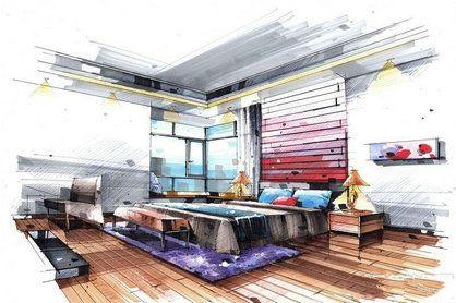 卧室马克笔手绘设计图 卧室马克笔效果图图片