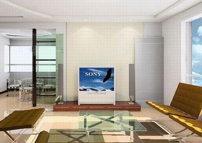 玻璃电视墙装修效果图:小房间如果用布料做背景墙则面积不宜过大.