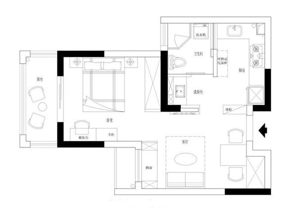 50平北欧风格案例 温馨惬意蝶舞一居室