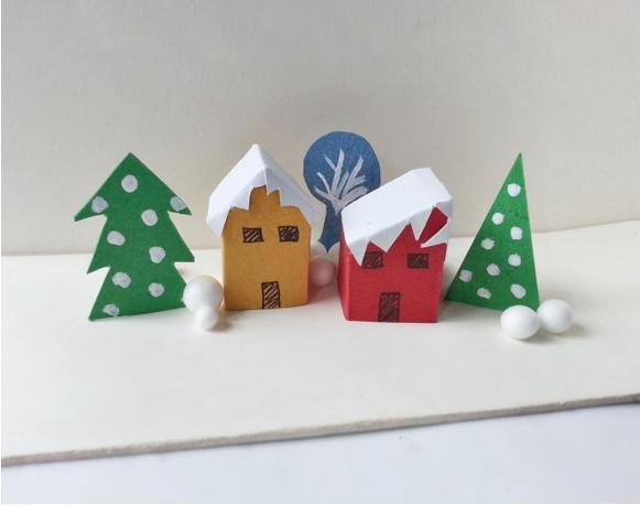 手工diy:圣诞镇制作步骤 不错的亲子手工项目
