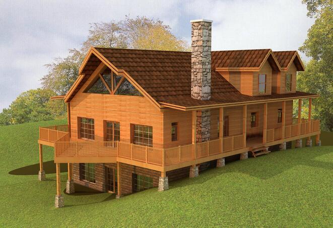 木质别墅装修设计 木质别墅款式效果图片图片