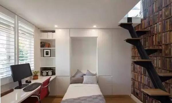带翻板床的书房设计