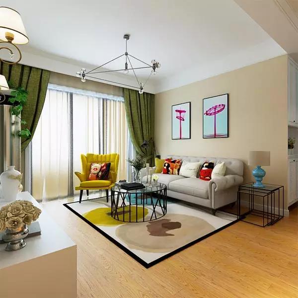 浅米黄客厅配色效果图_客厅刷漆米黄效果图