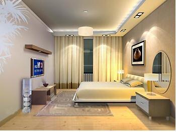 凹顶卧室吊顶设计效果图