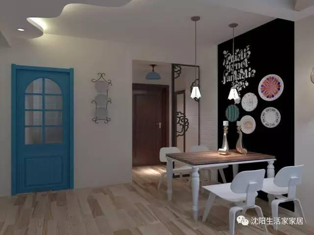 采用北欧风格的墙面设计,用色彩区分区域,开方式餐厅与客厅相连图片