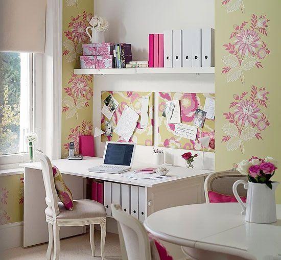女生甜美个性书房装修设计 女生书房效果图片
