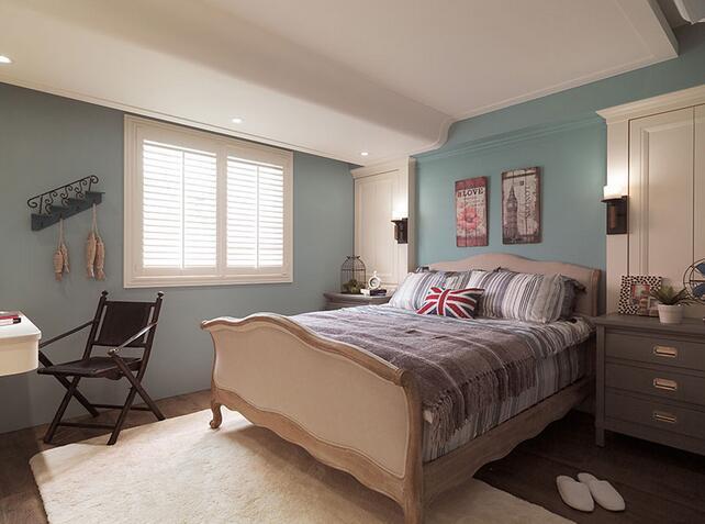 装修效果图_浅蓝色卧室墙面效果图_客厅淡蓝色墙漆效果图_米白色墙面