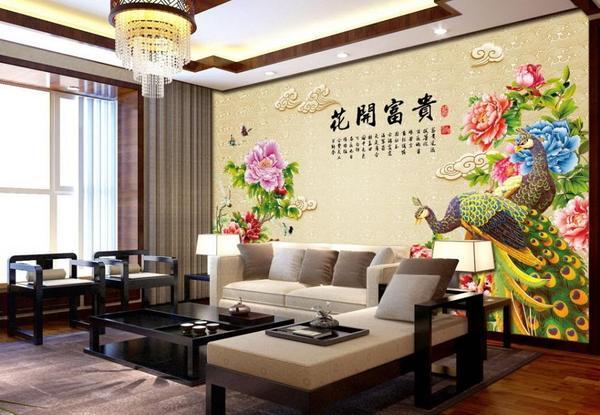 中国风小户型客厅背景墙装修设计及效果图