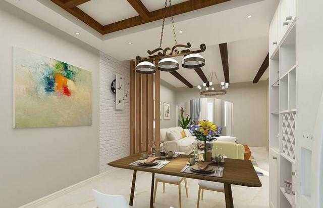 清新小田园的装修风格,弧形的电视背景墙,简单的田园风格,造型并不