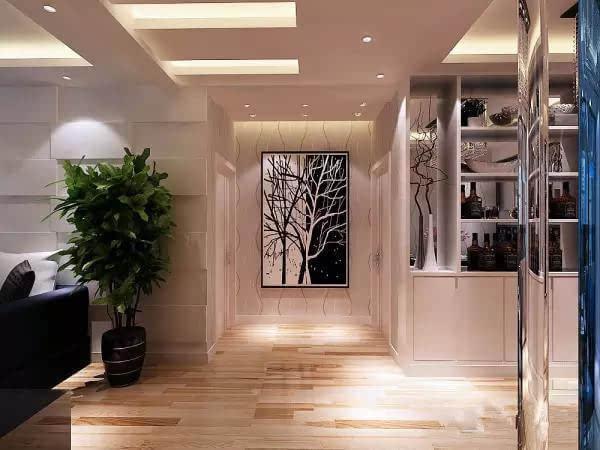 装修客厅走廊的效果图▲简约线条造型加上大幅装饰画,走廊尽头的墙